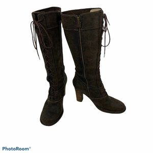 Frye Villager Lace Boots Womens 9.5 M Tall Brown